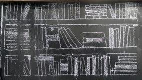 Чертеж мела книжных полок в библиотеке на черной доске Стоковая Фотография RF