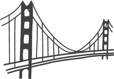 Чертеж моста золотого строба иллюстрация вектора