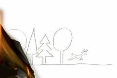 Чертеж оленя избегая от пущи иллюстрация вектора
