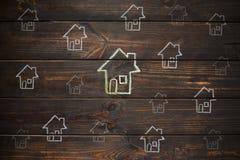 Чертеж дома на деревянных досках стоковые фотографии rf