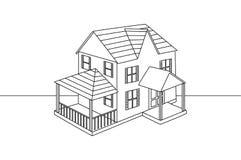Чертеж отдельной линии дома семьи стоковое изображение