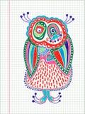 Чертеж отметки сыча Doodle Стоковое Изображение RF