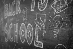 Чертеж от руки назад к школе на доске, фильтрованном pr изображения Стоковое Изображение