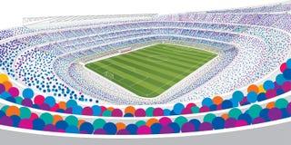 Чертеж панорамного взгляда белого футбольного стадиона заполнил с красочными людьми на белой предпосылке с широкоформатным взгляд Стоковые Изображения RF