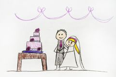 Чертеж пар свадьбы стоковое изображение rf