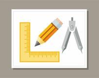 Чертеж, правитель, карандаш, покрасил плоскую иллюстрацию Иллюстрация штока