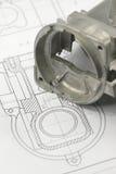 чертеж проектируя механически часть Стоковое Изображение RF