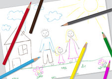 Чертеж простых детей Стоковое Фото