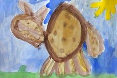 чертеж ребенка кота красит акварель s Стоковая Фотография RF