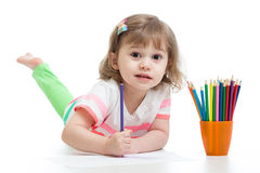 Чертеж ребенка с карандашами цвета Стоковое Изображение