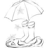 Чертеж резиновых ботинок, зонтик, лужицы Стоковые Изображения RF