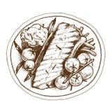 Чертеж руки иллюстрации вектора плиты стейка Стоковое Изображение