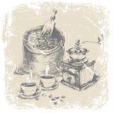 Чертеж руки комплекта кофе ilustration Стоковые Фото