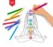 Чертеж руки размышляя женщина и chakras иллюстрация вектора