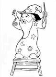 Чертеж ручки шаржа волшебника Стоковое Изображение