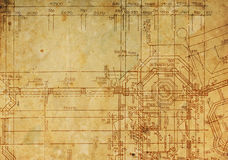 Чертеж сбора винограда архитектурноакустический Стоковое фото RF
