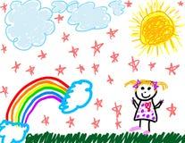 чертеж себя ребенка любит Стоковое Изображение
