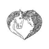 Чертеж сердца единорога и девушки иллюстрация штока
