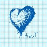 Чертеж сердца на векторе миллиметровки иллюстрация штока