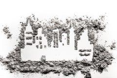 Чертеж силуэта городка или города сделанный в золе Стоковые Фото