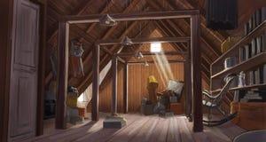 Чертеж старого чердака дома стоковое изображение