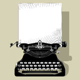 Чертеж старой машинки с бумагой в черно-белом годе сбора винограда иллюстрация штока