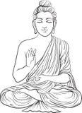 Чертеж статуи Будды Стоковые Фото