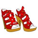 Чертеж стильных красных ботинок на лето Иллюстрация вектора
