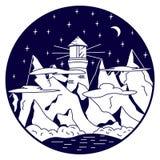 чертеж 2-тона маяка в горах Стоковое Фото