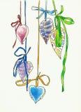 Чертеж украшения формы сердец смертной казни через повешение Стоковое Фото