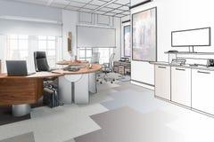 Чертеж управленческого офиса 02 иллюстрация вектора