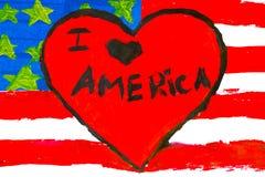 Чертеж-флаг ` s детей с влюбленностью Америкой надписи i стоковое фото