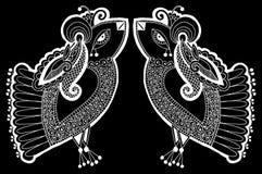 Чертеж черно-белого павлина декоративный этнический Стоковые Изображения RF