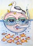 Чертеж шаржа Snorkling Стоковые Изображения RF