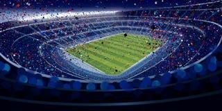 Чертеж широкоформатного взгляда стадиона вполне людей на ноче в голубых тонах с голубой, красный и белый падать confetti Стоковые Фото
