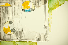 Чертеж эскиза чернил акварели freehand частично плана здания дома как картина aquarell показывая угол космоса verandah Стоковые Фото
