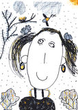 Чертеж crayon ребенка девушки Стоковая Фотография