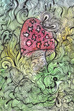 Чертеж Doodle гриба и бабочки. Стоковое Фото