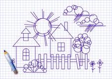 Чертеж ` s детей геометрическими диаграммами бесплатная иллюстрация