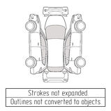 Чертеж suv автомобиля конспектирует не преобразованный к объектам Стоковая Фотография