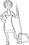Чертеж Whiteboard - домохозяйка шаржа сердитая Стоковая Фотография