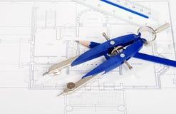 чертя инструменты плана дома чертежа Стоковое Изображение RF