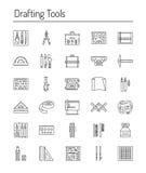 Чертя собрание значка инструментов Технический чертеж Линия значки Стоковые Изображения