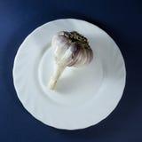 Чеснок в белой плите Стоковые Фото