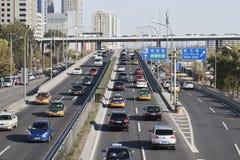 Четвертая кольцевая дорога через центр города Пекина, Китай Стоковая Фотография RF