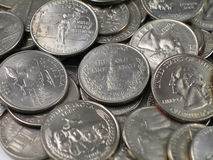 четверти монеток главным образом Стоковое Фото
