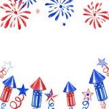 Четвертом -го знамя в июле с фейерверками и салютом на белой предпосылке Праздничная иллюстрация Дня независимости для карт, белы стоковое фото