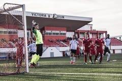 Четвертьфиналы чашки утеса Гибралтара - футбол - пункт Европы Европы 2-0 Стоковые Фотографии RF