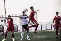 Четвертьфиналы чашки утеса Гибралтара - футбол - пункт Европы Европы 2-0 Стоковое Изображение RF