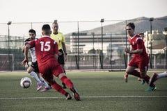 Четвертьфиналы чашки утеса Гибралтара - футбол - пункт Европы Европы 2-0 Стоковая Фотография